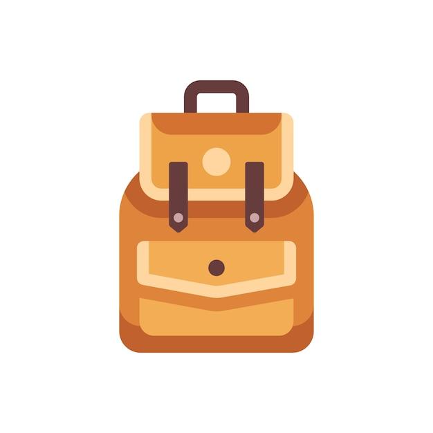 Flache ikone des ledernen schulkinderrucksacks. zurück zu schulillustration Premium Vektoren