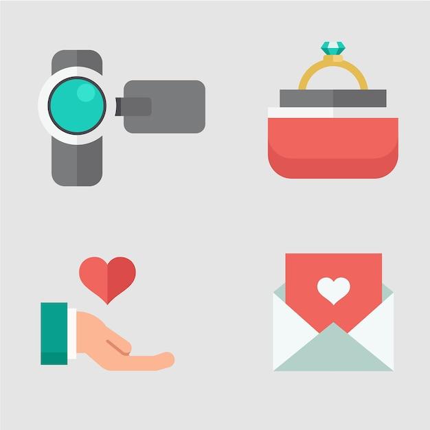 Flache ikone für hochzeit Premium Vektoren