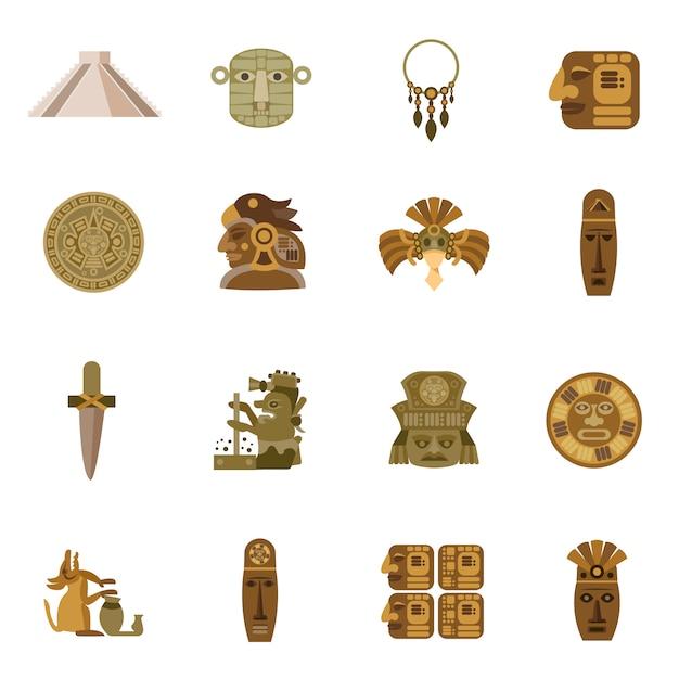 Flache ikone maya Premium Vektoren