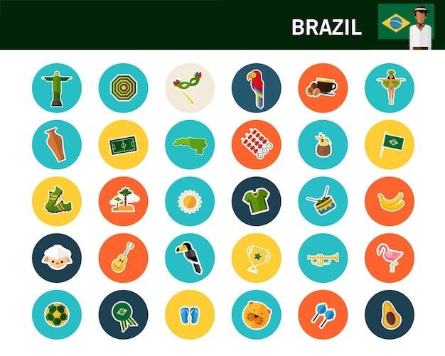 Flache ikonen brasilien-konzeptes Premium Vektoren