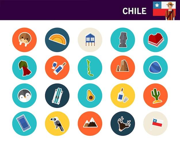 Flache ikonen chile-konzeptes Premium Vektoren