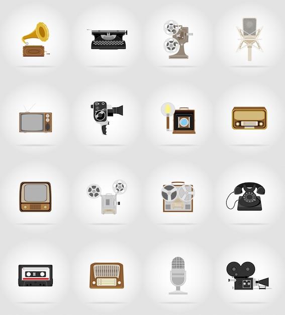 Flache ikonen der alten retro- weinlesemultimedia. Premium Vektoren