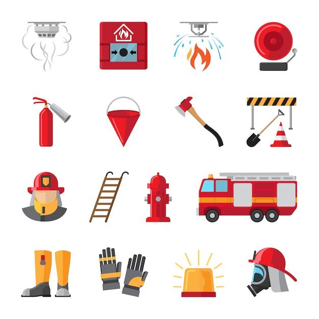 Flache ikonen der brandbekämpfung und der feuerschutzausrüstung Premium Vektoren