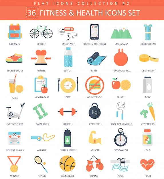 Flache ikonen der eignung und der gesundheit eingestellt Premium Vektoren