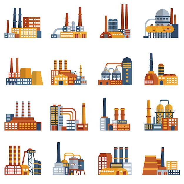 Flache ikonen der fabrik eingestellt Kostenlosen Vektoren