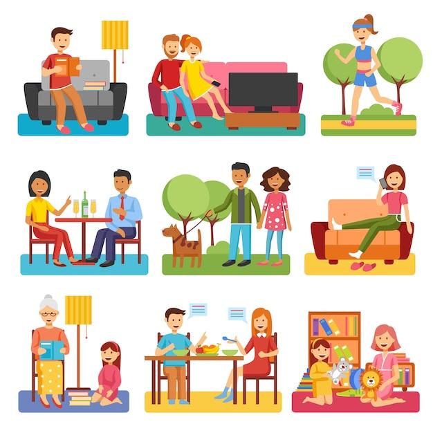 Flache ikonen der familie Kostenlosen Vektoren