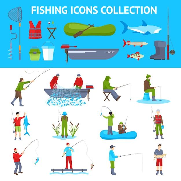 Flache ikonen der fischerei Kostenlosen Vektoren