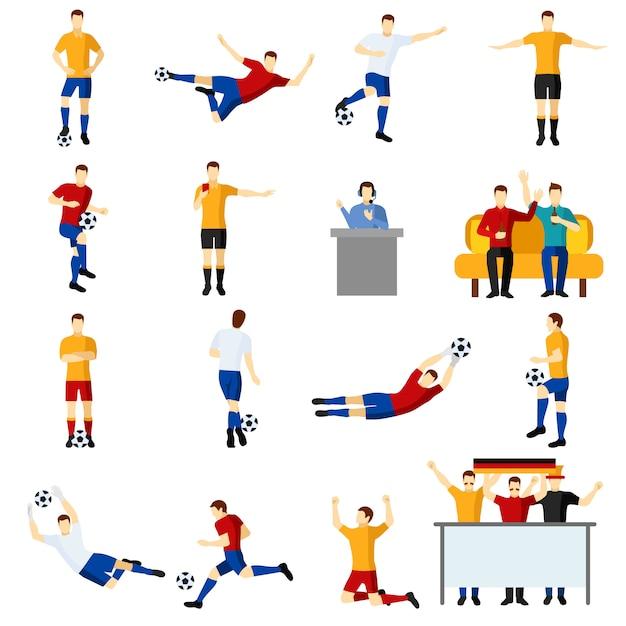 Flache ikonen der fußballspielleute eingestellt Kostenlosen Vektoren