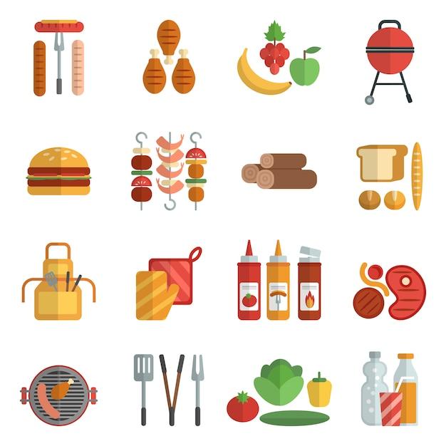 Flache ikonen der grillparty eingestellt Kostenlosen Vektoren
