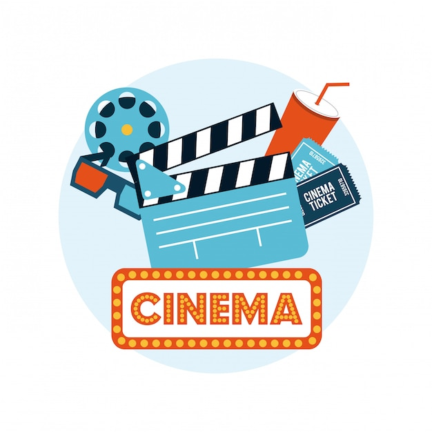 Flache ikonen der kinounterhaltung eingestellt Premium Vektoren