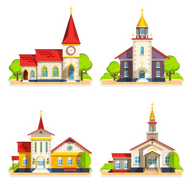 Flache ikonen der kirche eingestellt Kostenlosen Vektoren