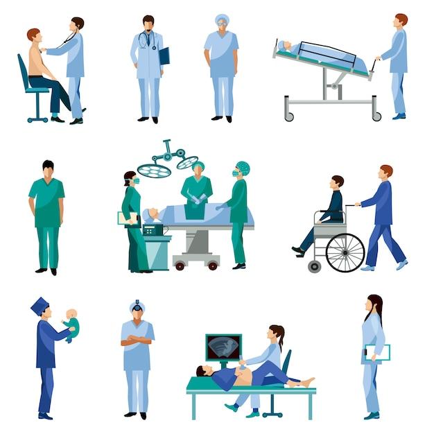 Flache ikonen der medizinischen berufsleute eingestellt Kostenlosen Vektoren