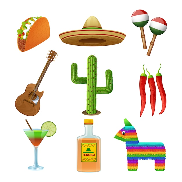 Flache ikonen der mexikanischen kultur stellten mit tequila-sombrero und pfeffer-tacozusammenfassung des heißen paprikas ein Kostenlosen Vektoren