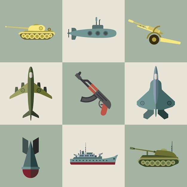 Flache ikonen der militärischen ausrüstung und der waffenrüstung Premium Vektoren