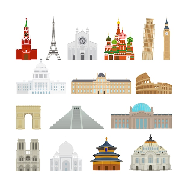 Flache ikonen der monumente Premium Vektoren