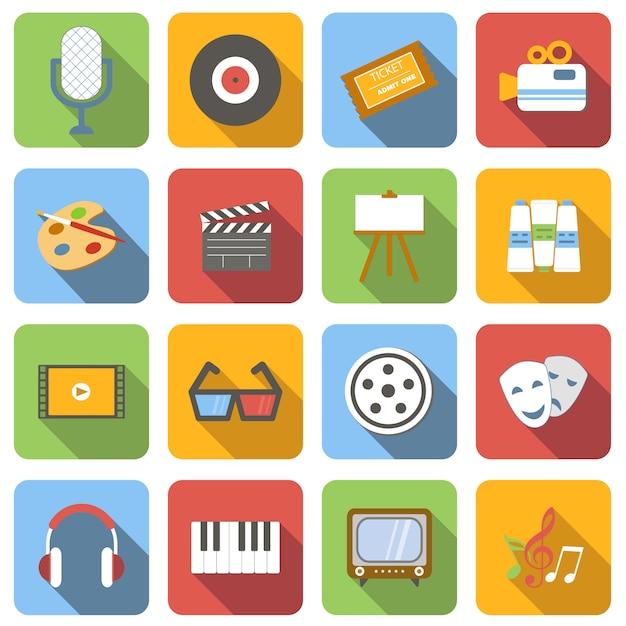 Flache ikonen der multimedia stellten bilder mit langem schatten im quadrat ein Premium Vektoren