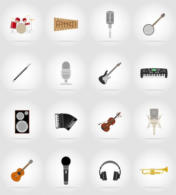 Flache ikonen der musikeinzelteile und -ausrüstung. Premium Vektoren