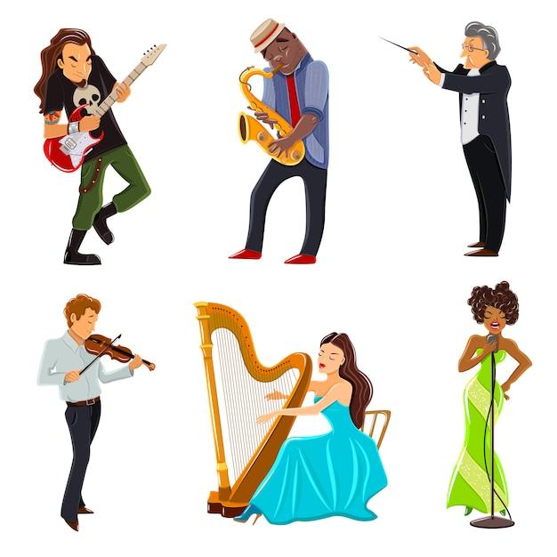 Flache ikonen der musiker eingestellt Kostenlosen Vektoren