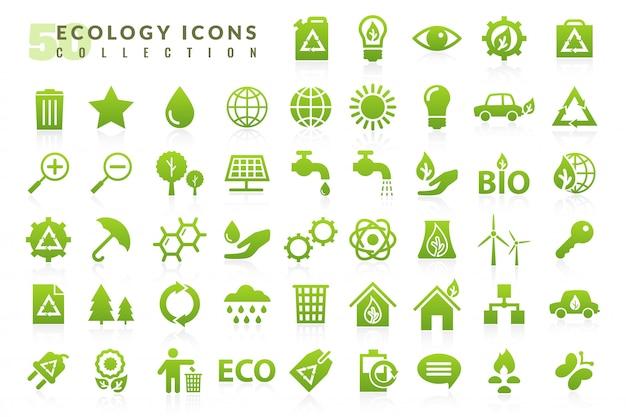 Flache ikonen der ökologie eingestellt Premium Vektoren