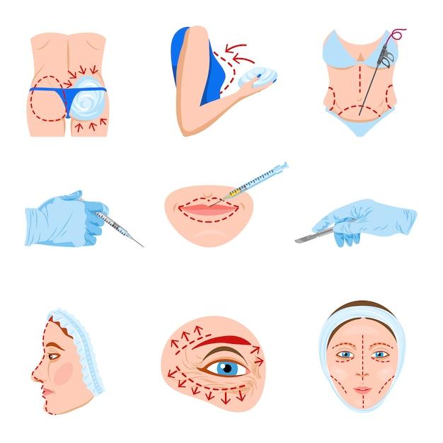 Flache ikonen der plastischen chirurgie eingestellt Kostenlosen Vektoren