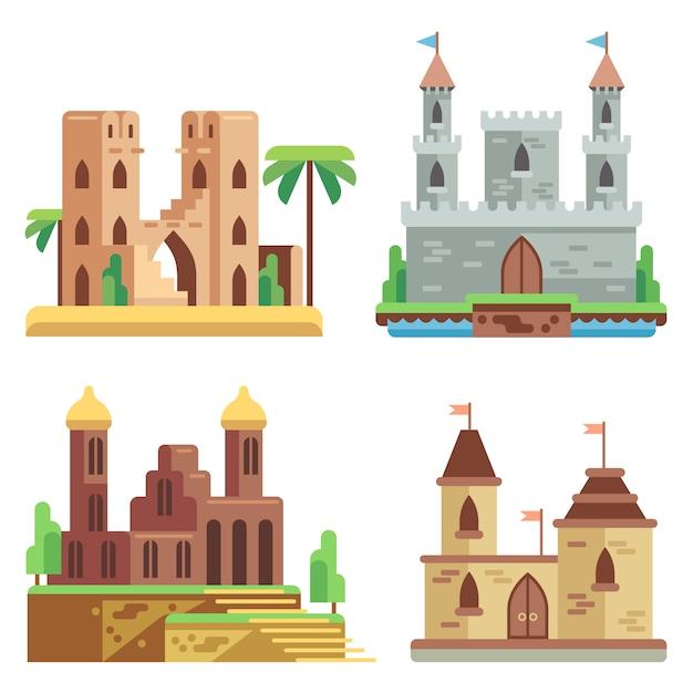 Flache ikonen der schlösser und der festungen eingestellt. feenhafte mittelalterliche schlösser der karikatur mit türmen. Premium Vektoren