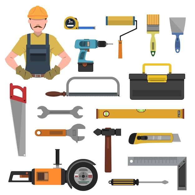 Flache ikonen der werkzeuge eingestellt Kostenlosen Vektoren