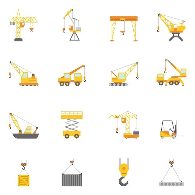 Flache ikonen des baukranes eingestellt Kostenlosen Vektoren