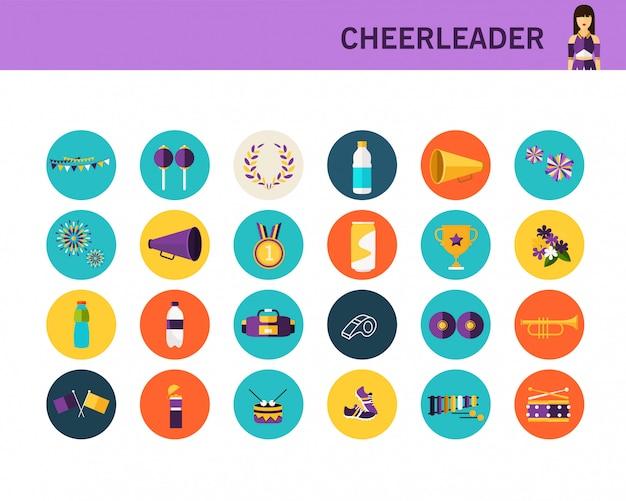 Flache ikonen des cheerleader-konzeptes. Premium Vektoren