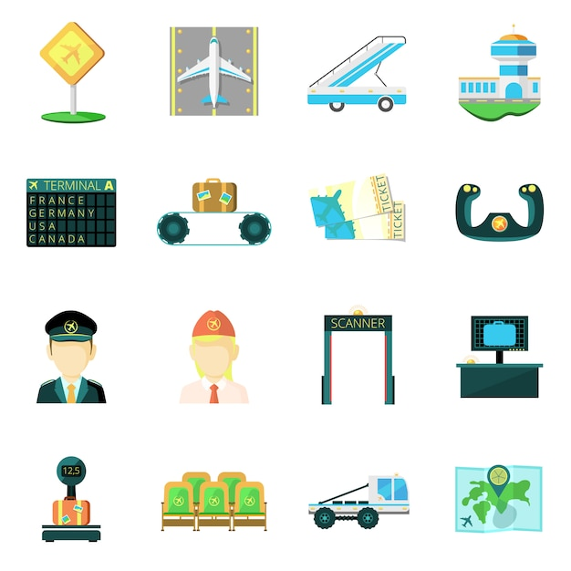 Flache ikonen des flughafens eingestellt Kostenlosen Vektoren