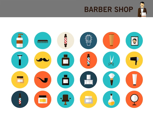 Flache ikonen des friseursalonkonzeptes. Premium Vektoren