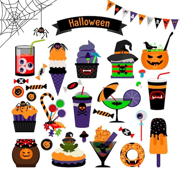 Flache ikonen des halloween-hexerei-bonbonvektors Premium Vektoren