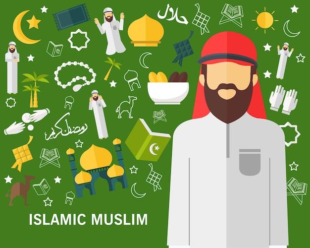 Flache ikonen des islamischen moslemischen konzeptes. Premium Vektoren