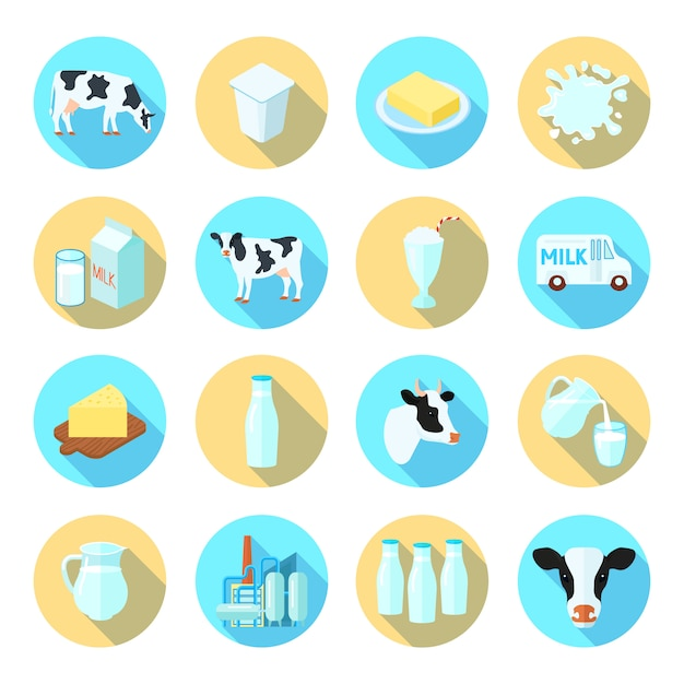 Flache ikonen des milchmilchproduktions-bauernhofes stellten mit gesetzter zusammenfassung des runden schattens der käsebutter ein Premium Vektoren