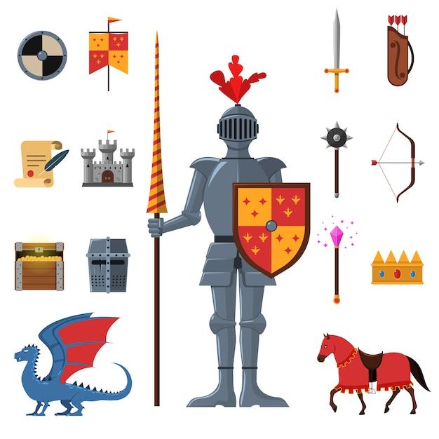 Flache ikonen des mittelalterlichen königreichritters eingestellt Kostenlosen Vektoren