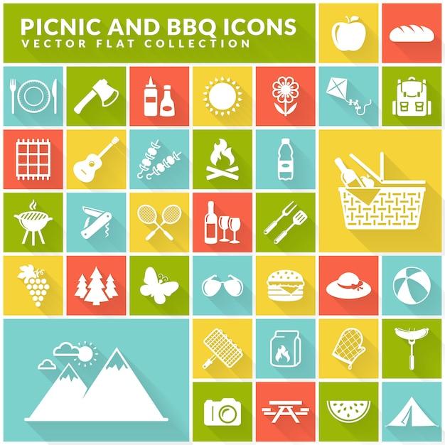 Flache ikonen des picknicks und des grills auf bunten quadratischen knöpfen. Premium Vektoren
