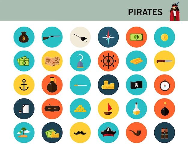Flache ikonen des piratenkonzeptes. Premium Vektoren