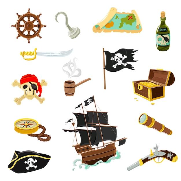 Flache ikonen des piratenzubehörs eingestellt Kostenlosen Vektoren
