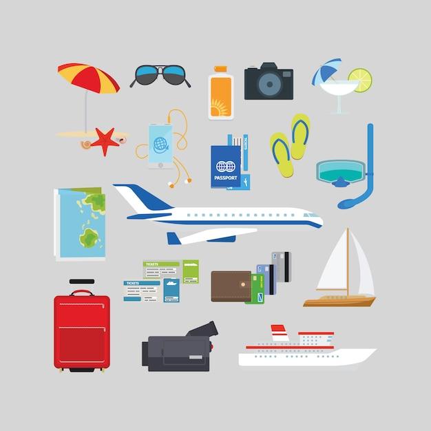 Flache ikonen des reise- und tourismussommers Premium Vektoren