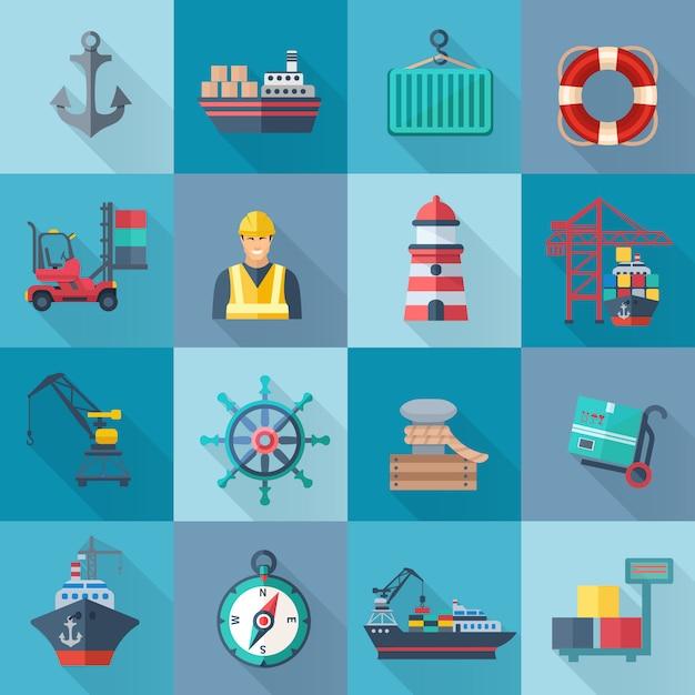 Flache ikonen des seehafens eingestellt Kostenlosen Vektoren