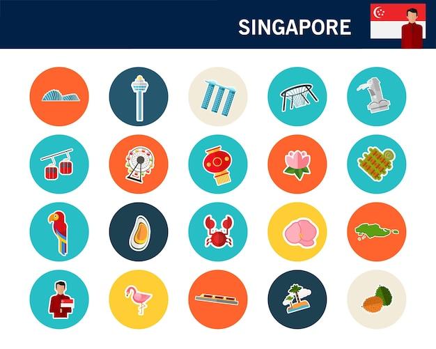 Flache ikonen des singapur-konzeptes Premium Vektoren