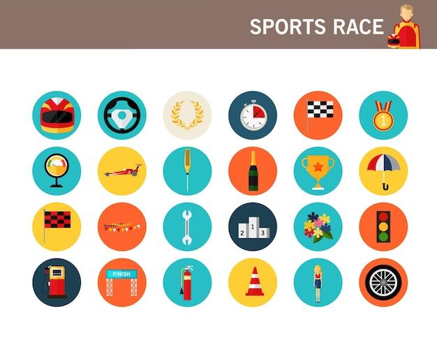Flache ikonen des sport-rennkonzeptes. Premium Vektoren