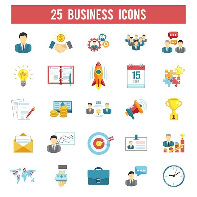 Flache ikonen des unternehmenstarts eingestellt Kostenlosen Vektoren