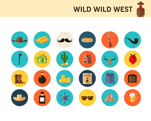 Flache ikonen des wilden wilden westkonzeptes. Premium Vektoren