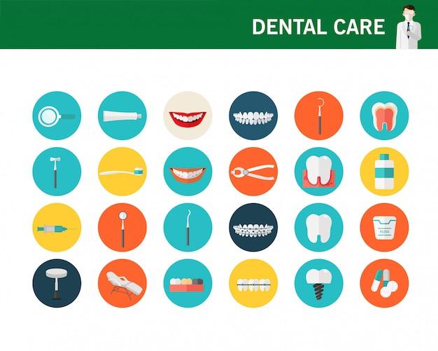 Flache ikonen des zahnpflegekonzeptes. Premium Vektoren