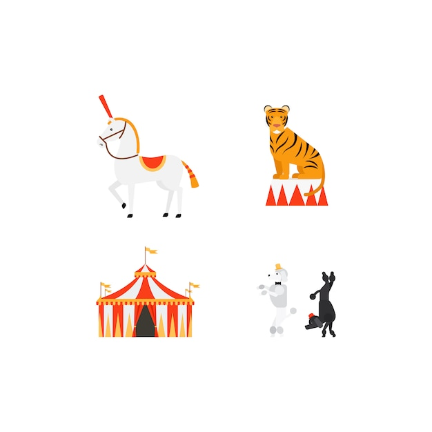 Flache ikonen des zirkus eingestellt Premium Vektoren