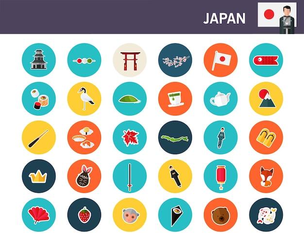 Flache ikonen japan-konzeptes Premium Vektoren