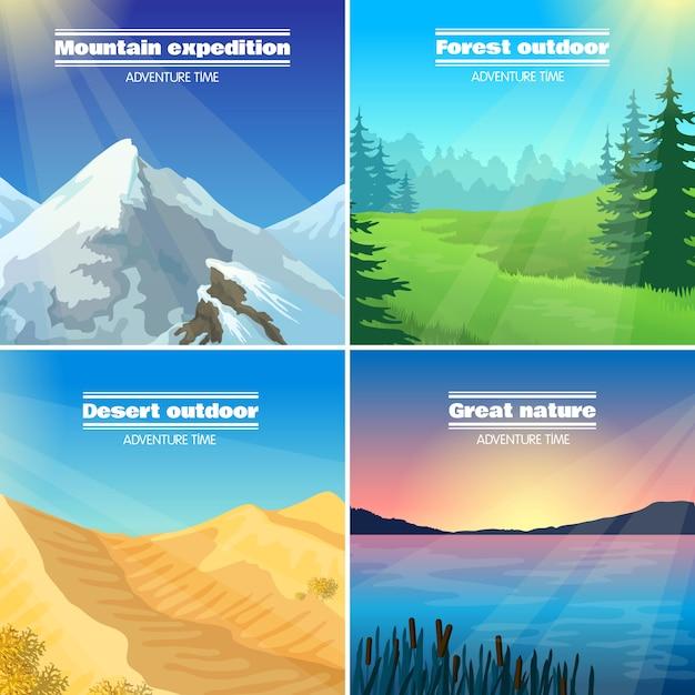 Flache ikonen-quadrat der kampierenden landschaften 4 Kostenlosen Vektoren