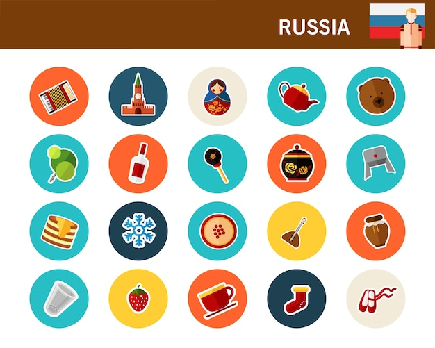 Flache ikonen russland-konzeptes Premium Vektoren