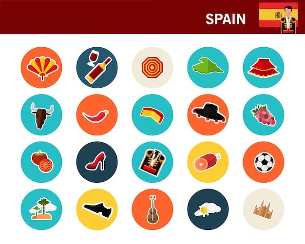 Flache ikonen spanien-konzeptes Premium Vektoren