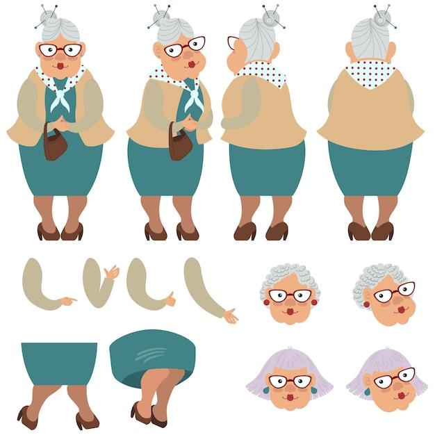 Flache ikonen stellten von alter dame mit tasche ein Kostenlosen Vektoren